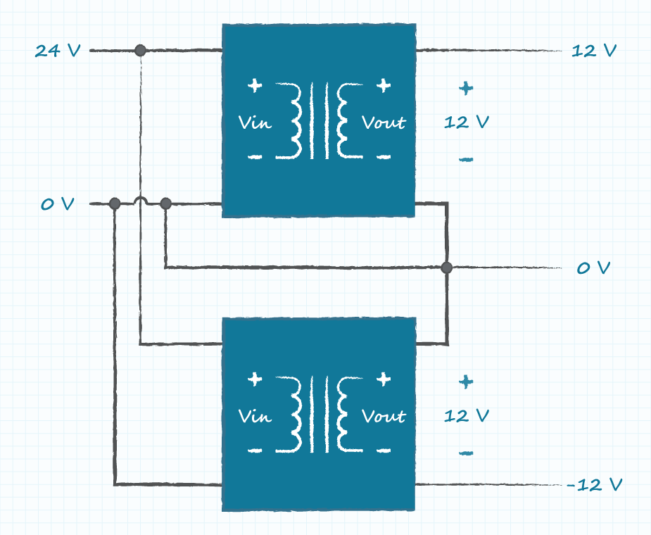 diagram of a circuit with positive and negative rails